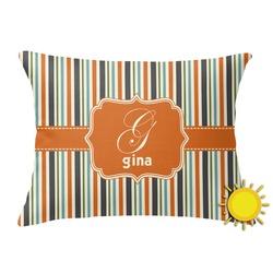 Orange & Blue Stripes Outdoor Throw Pillow (Rectangular) (Personalized)