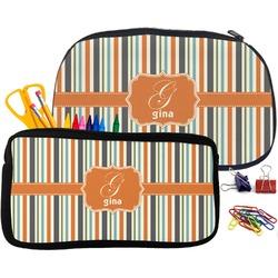 Orange & Blue Stripes Pencil / School Supplies Bag (Personalized)