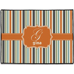 Orange & Blue Stripes Door Mat (Personalized)