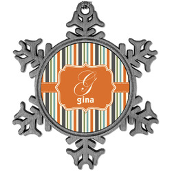 Orange & Blue Stripes Vintage Snowflake Ornament (Personalized)