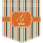 Orange & Blue Stripes Iron On Faux Pocket (Personalized)