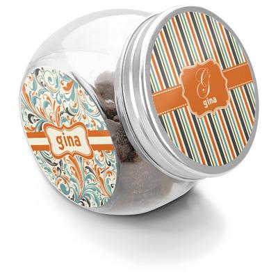 Orange & Blue Stripes Puppy Treat Jar (Personalized)