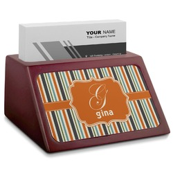 Orange & Blue Stripes Red Mahogany Business Card Holder (Personalized)