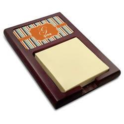 Orange & Blue Stripes Red Mahogany Sticky Note Holder (Personalized)