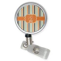 Orange & Blue Stripes Retractable Badge Reel (Personalized)