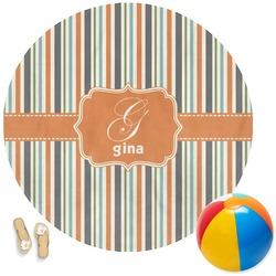 Orange & Blue Stripes Round Beach Towel (Personalized)