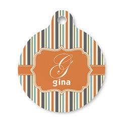Orange & Blue Stripes Round Pet Tag (Personalized)