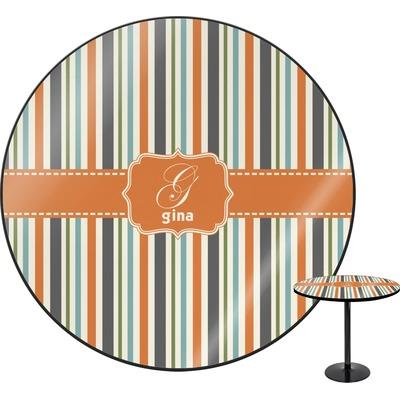 Orange & Blue Stripes Round Table (Personalized)