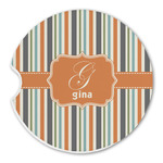 Orange & Blue Stripes Sandstone Car Coasters (Personalized)
