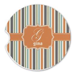 Orange & Blue Stripes Sandstone Car Coasters (Personalized)