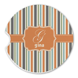 Orange & Blue Stripes Sandstone Car Coaster - Single (Personalized)