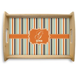 Orange & Blue Stripes Natural Wooden Tray (Personalized)