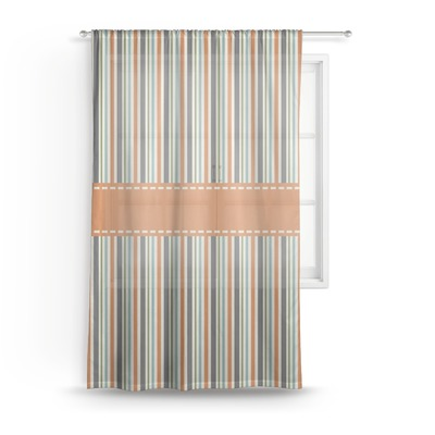 Orange & Blue Stripes Sheer Curtains (Personalized)