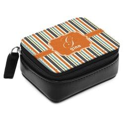 Orange & Blue Stripes Small Leatherette Travel Pill Case (Personalized)