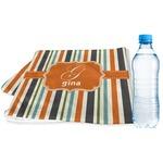 Orange & Blue Stripes Sports & Fitness Towel (Personalized)