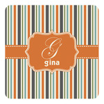 Orange & Blue Stripes Square Decal (Personalized)
