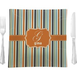 """Orange & Blue Stripes 9.5"""" Glass Square Lunch / Dinner Plate- Single or Set of 4 (Personalized)"""