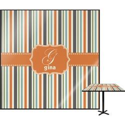 Orange & Blue Stripes Square Table Top (Personalized)