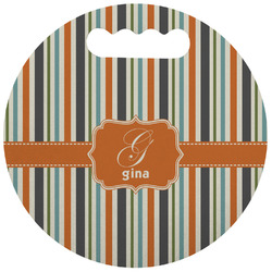 Orange & Blue Stripes Stadium Cushion (Round) (Personalized)