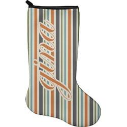 Orange & Blue Stripes Christmas Stocking - Neoprene (Personalized)