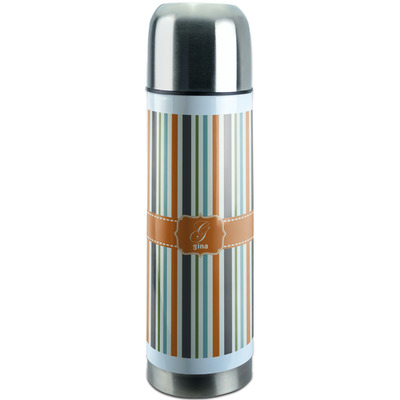 Orange & Blue Stripes Stainless Steel Thermos (Personalized)