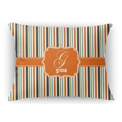 Orange & Blue Stripes Rectangular Throw Pillow Case (Personalized)