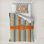 Orange & Blue Stripes Toddler Bedding w/ Name and Initial