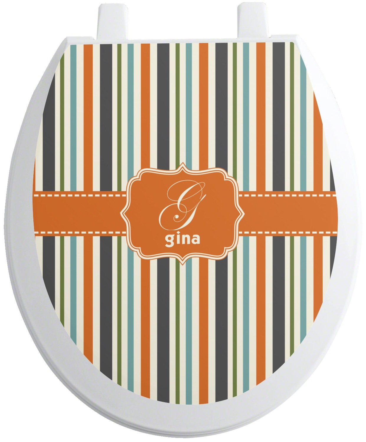 Strange Orange Blue Stripes Toilet Seat Decal Personalized Gamerscity Chair Design For Home Gamerscityorg