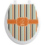 Orange & Blue Stripes Toilet Seat Decal (Personalized)