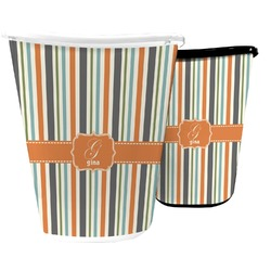 Orange & Blue Stripes Waste Basket (Personalized)