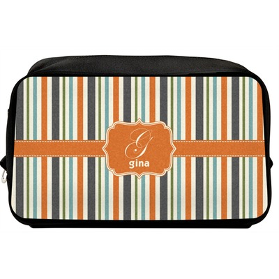 Orange & Blue Stripes Toiletry Bag / Dopp Kit (Personalized)
