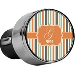 Orange & Blue Stripes USB Car Charger (Personalized)