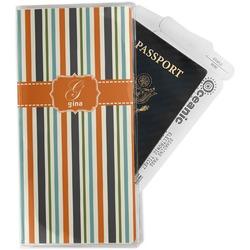 Orange & Blue Stripes Travel Document Holder