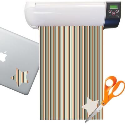 Orange & Blue Stripes Sticker Vinyl Sheet (Permanent)