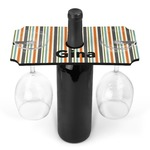Orange & Blue Stripes Wine Bottle & Glass Holder (Personalized)