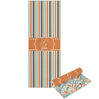 Orange & Blue Stripes Yoga Mat - Printable Front and Back (Personalized)