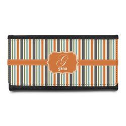 Orange & Blue Stripes Leatherette Ladies Wallet (Personalized)