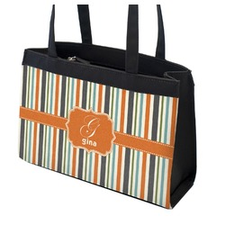 Orange & Blue Stripes Zippered Everyday Tote w/ Name and Initial