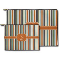 Orange & Blue Stripes Zipper Pouch (Personalized)