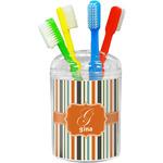 Orange & Blue Stripes Toothbrush Holder (Personalized)
