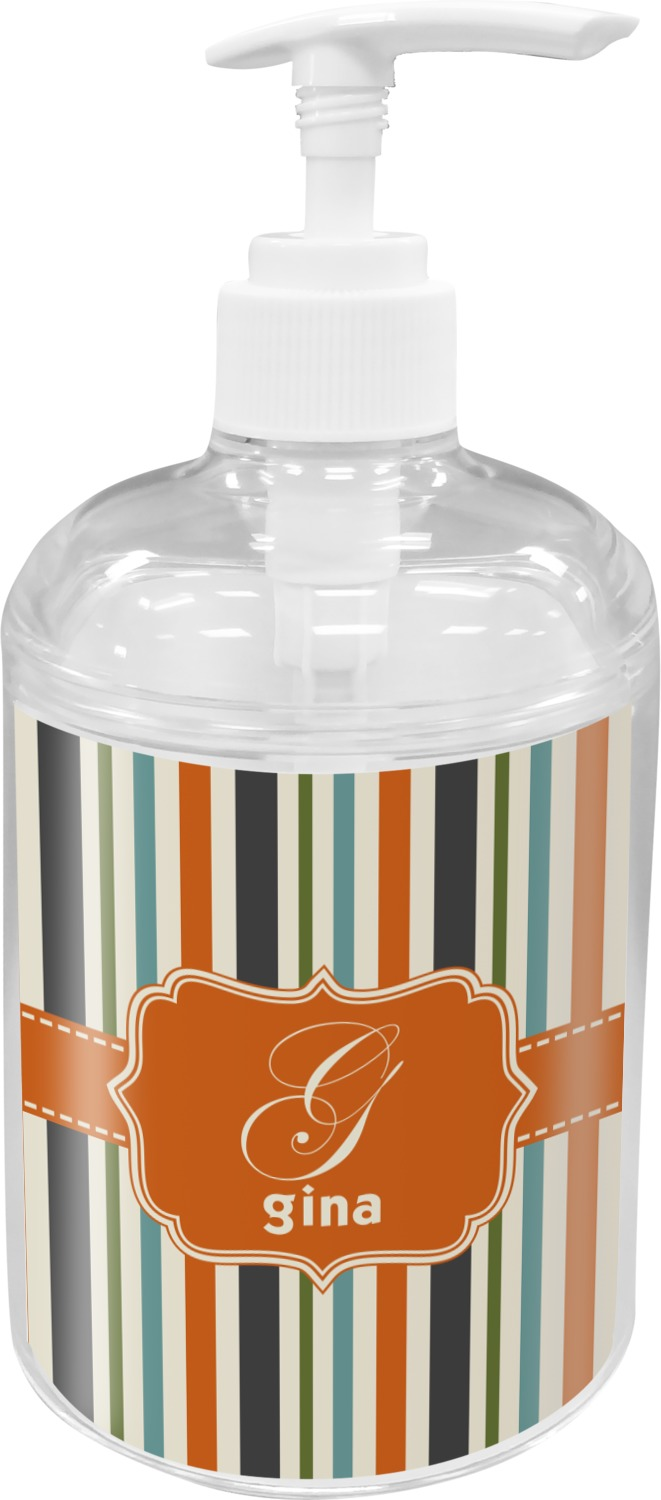 Orange Blue Stripes Soap Lotion Dispenser Personalized Youcustomizeit