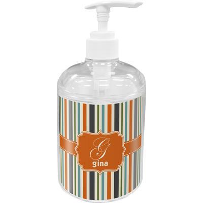 Orange & Blue Stripes Acrylic Soap & Lotion Bottle (Personalized)