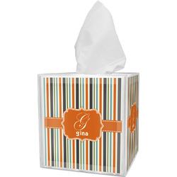 Orange & Blue Stripes Tissue Box Cover (Personalized)