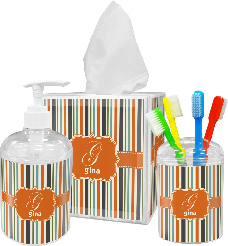 Orange Blue Stripes Bathroom Accessories Set Personalized