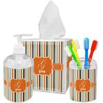 Orange & Blue Stripes Acrylic Bathroom Accessories Set w/ Name and Initial