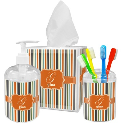 Orange & Blue Stripes Acrylic Bathroom Accessories Set w/ Name and Initial