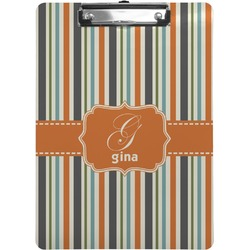 Orange & Blue Stripes Clipboard (Personalized)