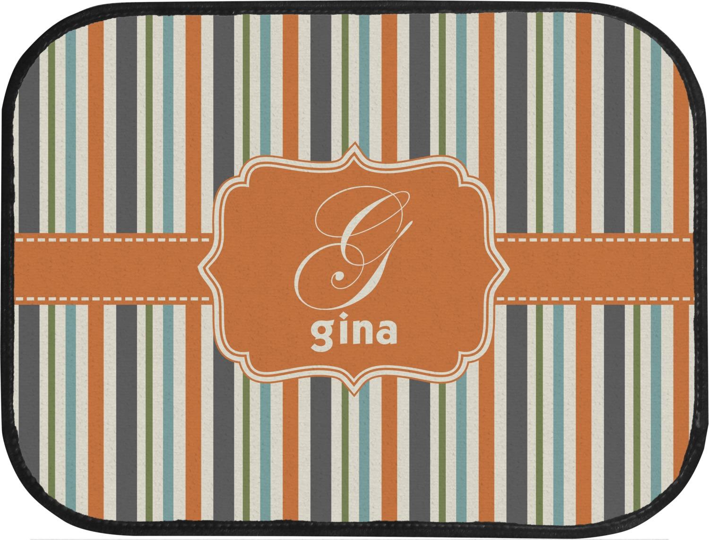 Orange blue swirls stripes car floor mats back seat personalized you customize it - Orange kitchen floor mats ...