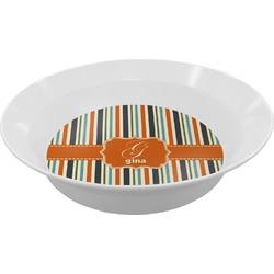 Orange & Blue Stripes Melamine Bowl (Personalized)