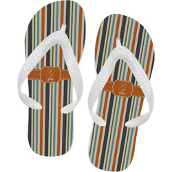 Orange & Blue Stripes Flip Flops (Personalized)
